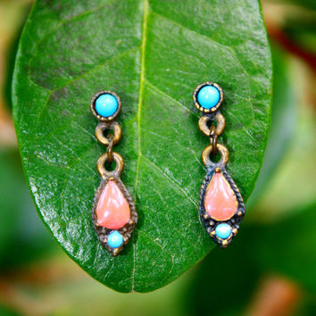 Antiqued Coral & Turquoise Drop Earrings