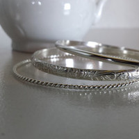 Sterling Silver Bangle Bracelets - Pattern, Set of three