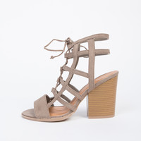 Caged Chunky Heel Sandals