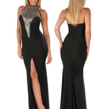 Black Halter Neck Sequined Bodycon Front Slit Maxi Dress