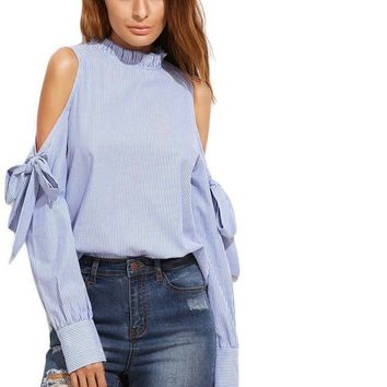 Women Clothes Long Sleeve Top Blue Vertical Striped Ruffle Collar Cold Shoulder Blouse