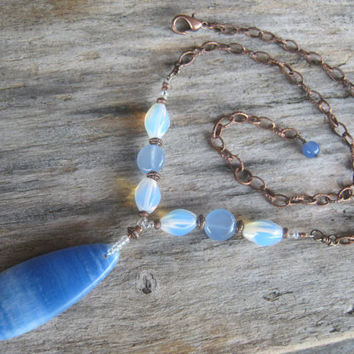 Angelite Teardrop Necklace, Opal Opalite Necklace, Blue Agate, Antiqued Copper Jewelry, 17 -19 inches, Ethereal Necklace, READY To SHIP