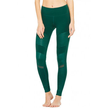 Ayopanda Brand New Women High-Waist Moto Sport Leggings with Mesh Panels Super Star The Same Style Of Yoga Sports Activewear