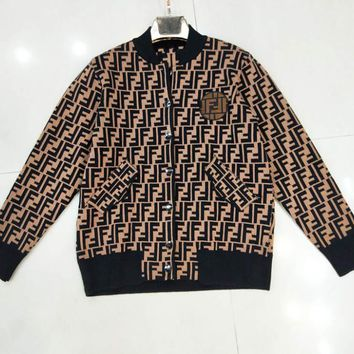 Fendi Autumn And Winter New Fashion More Letter Print Long Sleeve Top Button Coat Women Coffee