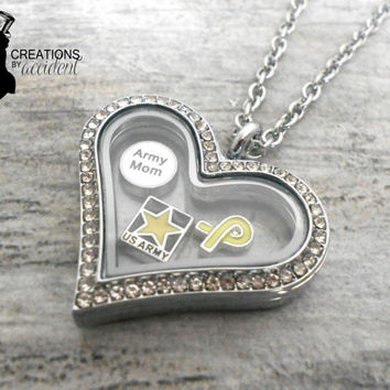 Stainless Steel US Army Floating Locket - Army Wife, Mom, Girlfriend Jewelry - Army Locket Necklace - Miltiary Jewelry - US Army Locket