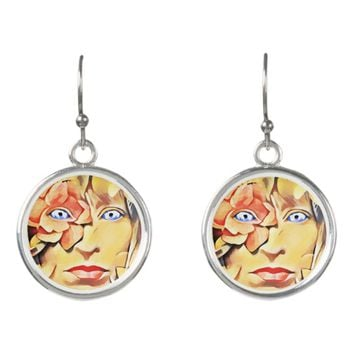 Mother Nature Flower Goddess Abstract Original art Earrings