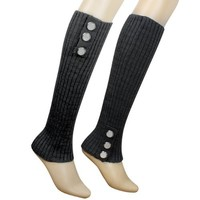 Triple Button Trimmed Classic Boot Shaft Style Ribbed Knit Soft Acrylic Leg Warmer - Gray