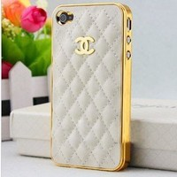 Designer inspired chanel CC iphone 4/4S leather case .high quality, Luxury style, white with golden cc logo and frame, BUY it can get one matched Free 3.5mm diamond Anti dust Ear Cap Dock Plug:Amazon:Electronics