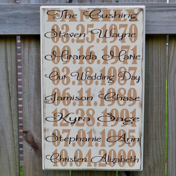 Important Dates Wood Sign, Anniversary Gift, Family Sign, What a Difference a Day Makes, Important Date Art