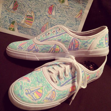 Lilly Pulitzer Inspired You Gotta Regatta Hand Painted Shoes