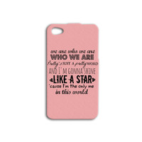 Cute Pink Quote iPhone Case Shine Like a Star Pretty Girly iPod Case iPhone 4 Case iPhone 5 iPhone 5s iPhone 4s iPhone 5c iPod 4 iPod 5 Case