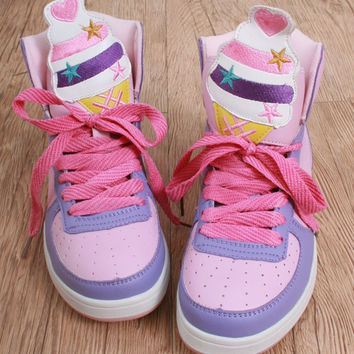 Cutie Kawaii Decora Pastel Candy Pink Bunny Rabbit Hi Top Sneaker Boot Adult