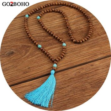 Go2boho Dropshipping Necklace Nepal Necklace Mala Beads Yoga Jewelry Tassel Handmade Wooden Beads Buddha Meditation Prayer Gifts