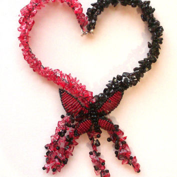 Butterfly necklace-Black and cherry necklace-Beaded necklace