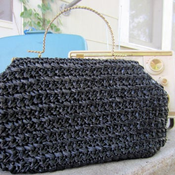 50s Black Raffia Purse w/ Twirled Golden Handle by Garay // Vintage Hand Bag