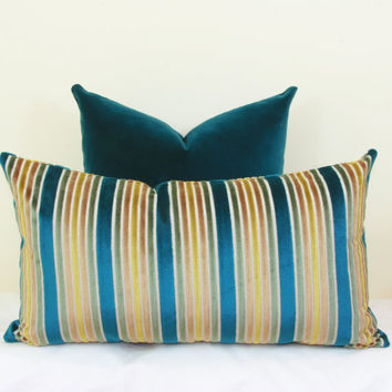 Peacock gold velvet stripe pillow cover 18x18 20x20 22x22 24x24 26x26 Euro sham Teal Lumbar pillow 12x24 14x24 14x26 16x24 16x26