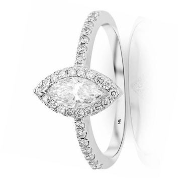 ...1.02 Carat GIA Certified 14K White Gold Halo Marquise Cut Diamond Engagement Ring (0.52 Ct K Color VS1 Clarity Center)