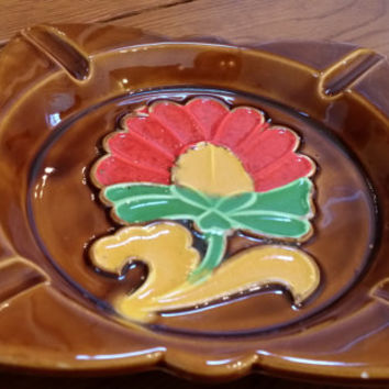 Vintage Mid Century Retro Ceramic Red Flower Ashtray Trinket Candy Dish Made in Japan Great Decor Mother's Day Wedding House Warming Gift
