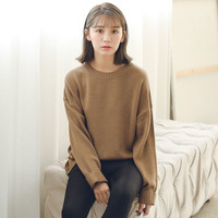 Solid O-Neck Sweater from shopyukii