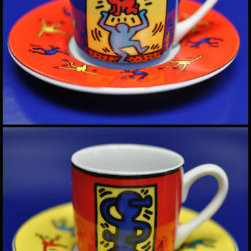 Keith Haring vintage espresso cup and saucer, set of two, german porcelain by Konitz