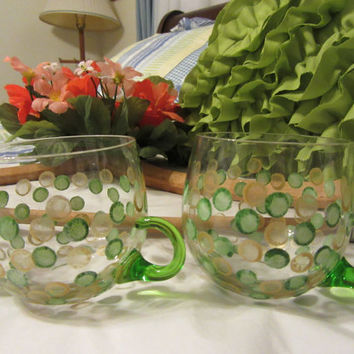 Vintage Unique One of A Kind Hand Painted SMALL Clear Glass Tea Punch Cups With Green Handled - Set of 4 - Green Gold HAPPY DOTS