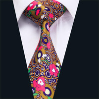 Mens Ties Pink Floral Neck Tie 100% Silk Jacquard Ties For Men Business Wedding Party