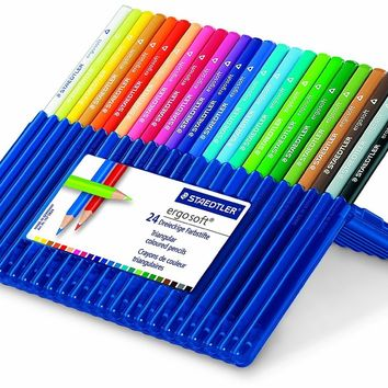 Staedtler Ergosoft Colored Pencils, Set of 24 Colors in Stand-up Easel Case (157SB24)