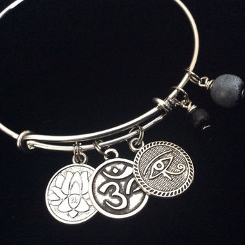 Yoga Inspired Silver Adjustable Bangle Expandable Charm Bracelet Om Evil Eye of Protection Lotus