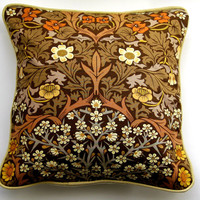 Cushion cover, throw pillow, home decor, 18 x 18 ins. brown, cream,Sanderson, William Morris Blackthorn fabric, early 70s, Arts and Crafts.