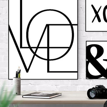 LOVE Wall Art 8x10 24x30 Printable, Digital Download Art, Home Decor Wall Art Print, Love Typography Print, Black And White Minimalist Art