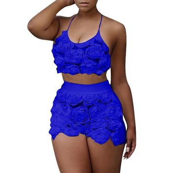 Two Piece Suits Women Summer Outfits Sexy Halter Clothing Set White Floral Mesh Lace Pant Suit Halter Crop Top and Shorts Set