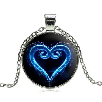 Kingdom Hearts Emblem Symbol Glass Pendant Necklace Charms personality Occult Necklaces & Pendants Women Jewelry High Quality