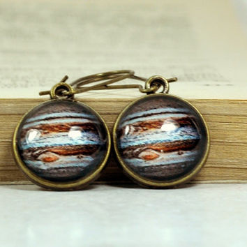 Jupiter Resin Glass Dome Earrings, Dangle Space Earrings