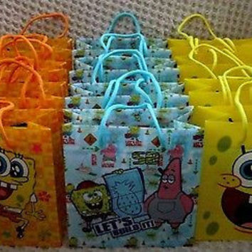 SPONGEBOB GOODIE BAGS PARTY FAVOR GIFT BAGS 12 pieces by Nick Jr.-Brand New!