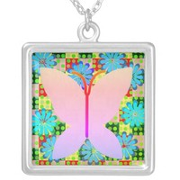Flowered Butterfly Necklace