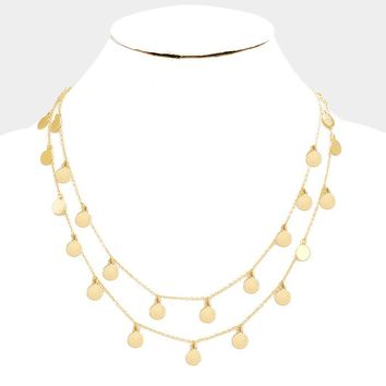 Delicate Chain and Coin Necklace