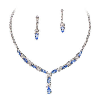 Beautiful Y Drop Evening Party Blue Bridal Bridesmaid Necklace Earring Rhinestone Bling P5