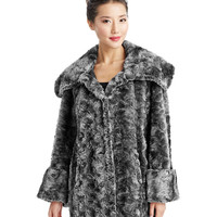 Women's Apparel | 50% Off Coats | Wing Collar Fur Swing Coat | Lord and Taylor