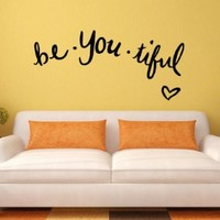 Wall Decal Vinyl Sticker Art Decor Be You Tiful Lettering Quote Phrase Heart V149