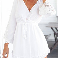 White V Neck Mini Dress with Lace Details