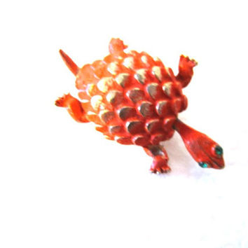 Jewelry Turtle Brooch orange and silver green eyes and movable head, vintage brooch pin shersvintagefinds   turtle brooch