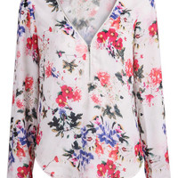 White Long Sleeve Floral Print Zip Blouse - Sheinside.com