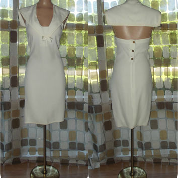 Vintage 80s Dress | 1980s Sailor Dress | Designer Vintage | Sonia Rykiel Paris Dress | Ivory Nautical Cruise | Size 42 S/M