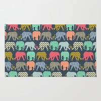 baby elephants and flamingos Area & Throw Rug by Sharon Turner | Society6