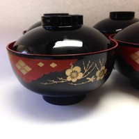 Japanese Urushi Lacquered Bowls with Lids 12 Piece Set Red Black Gold Dishes