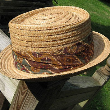 Vintage 50s Fedora Hat Mens Golden Straw with by BettesBargains