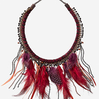 Burgundy Thread Wrapped Feather Fringe Necklace from EXPRESS