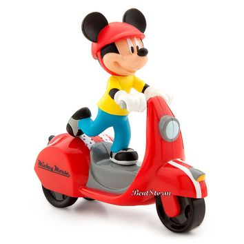 Licensed cool NEW Disney Store Talking Retro Style Mickey Mouse RED Toy Wind-Up Scooter Car