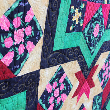 Heirloom Lap Quilt, throw blanket, Celebration in Florals, Green, Red and Yellow, home decor