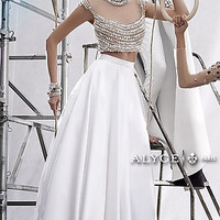 Long Two Piece Alyce Dress with a Sheer Back